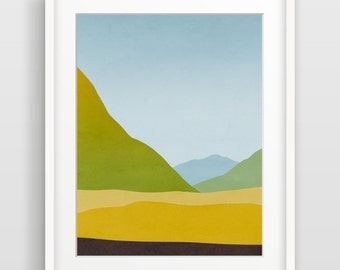 Landscape Wall Art Print, Mountain Art Print, Abstract Landscape Painting, Nature Print, Scandinavian Art, Minimalist Art