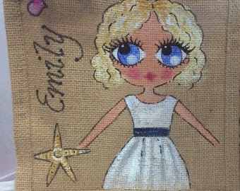 Handpainted Personalised Mini Jute Bridesmaid Paige Boy Handbag Gift Party Bag Celebrity Style