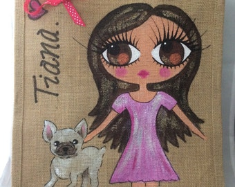 Handpainted Personalised Jute Gift Party Celebrity Style Bridesmaid Bag with French Bulldog Dog