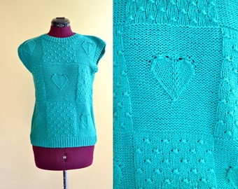 1980s Vintage SKYR Sportswear Cap Sleeve Heart Sweater size Medium (S M) bust 32