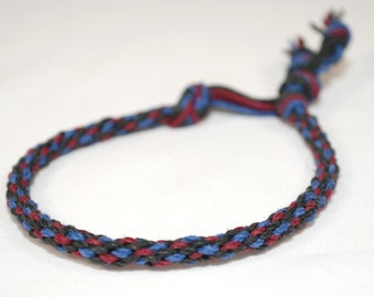 Eco Friendly Hemp Bracelet Kumihimo Black, Red, Blue Jewelry Mens Jewellery