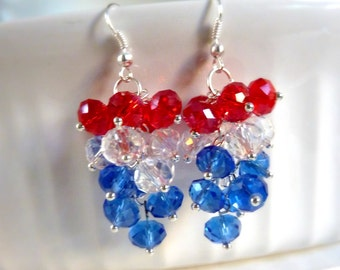 Independence Day Earrings Red white and blue earrings cluster crystal dangle silver drops