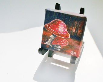 Fairytale Mushrooms, Teeny Tiny Original Nature Painting with Easel