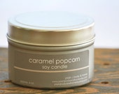 SALE - Caramel Popcorn Soy Candle Tin 4 oz. - fall soy candle - caramel popcorn - food soy candle - candy candle - fall candle