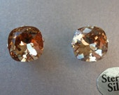 Light Colorado Topaz Cushion Cut Earrings made with Swarovski Elements