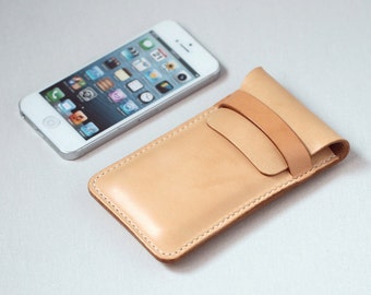 100% Hand-stitched Vegetable Tanned Leather Case Cards Holder for iPhone 4/4s/5/6