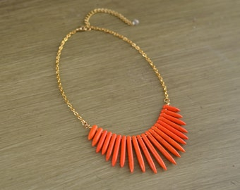 Orange Spike Necklace - Orange Statement Necklace - Orange Beaded Necklace - Orange Gold Silver Necklace