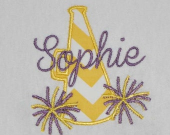 Megaphone Cheer Embroidery Design - Instant Download