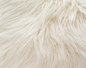 Faux Fake Fur Ivory  Mongolian 60 Inch Fabric by the Yard, 1 yard