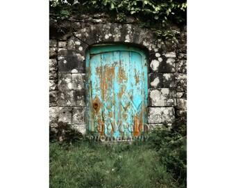 Aqua Gate Photograph, English Countryside, Turquoise Door, Stone Wall, Garden, England, Downton Abbey