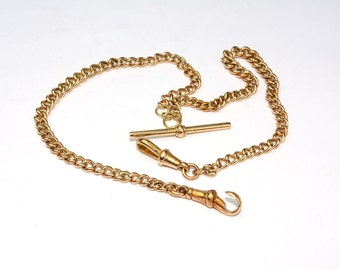 Antique 1900's Rose Gold 9k Watch Fob Chain
