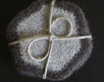 handmade and felted reversable wool coasters, mug rug
