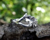 OOAK Oak Leaf Ring Sterling Silver, Organic, Wood texture Ring, Adjustable