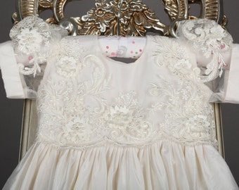 Alencon Lace and Dupioni Silk Christening Gown, Baptism Gown, 0-3 months, 3-6 months, 6-9 months, 9-12 months, 12-18 months, 18-24 months,