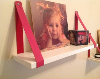Customizable Leather strap shelf hangers - your choice of colors.