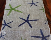 "Hawaiian Vintage Chic Burlap Table Runner - ""Starfish"""