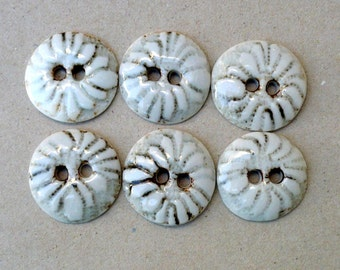 GreyAnd White Porcelain Sewing Buttons,Flower Buttons