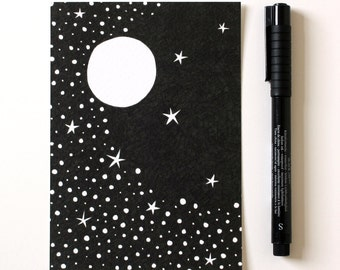 Starry Sky / A6 print / Mini art print / Illustration / Contemporary art / Postcard / Black and white