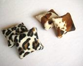 Lavender Sachet Pillows - Brown Cream Black Leopar and Cow Print Fabric - Gift for Her, for Mom - 5 Pieces of Lavendar Sachet - Velvet