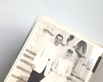 Vintage White and Gold Wedding Album and Pictures Black and White 1940s Bride and Groom