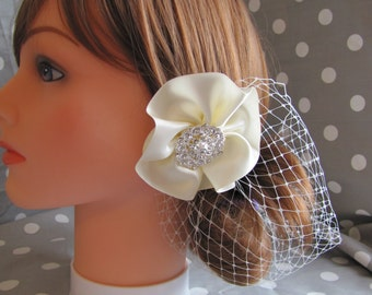 Satin bridal hair clip, bridal head piece, rhinestone and satin hair clip with birdcage netting attached