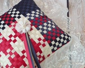 Patriotic ring pillow, RED, IVORY, NAVY blue satin ribbons, ivory lace - Independence Day / July Fourth (4th)  - americana military wedding