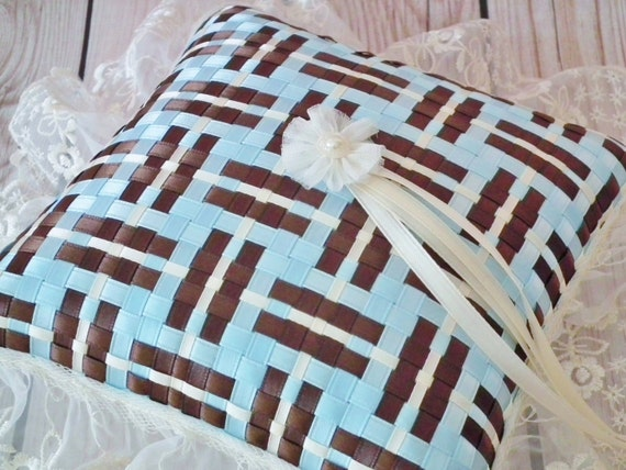 Blue and brown satin ribbon ring pillow, chocolate brown and light blue (sky blue, baby blue), with ivory lace trim, ivory satin ring ties
