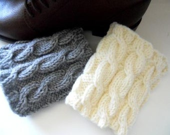 Knitted  Boot Cuffs  Leg Warmers Cable knit  Ivory Grey Beige  Black Yellow Red  Boot Toppers  Knit Boot Socks