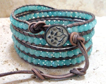 Natural Amazonite Faceted 4mm Gemstone Round Beaded Leather 4-Wrap Bracelet
