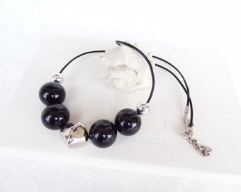 Black & Lame Necklace, Geometric Necklace, Geometric Jewelry,Acrylic Beads,  Valentines