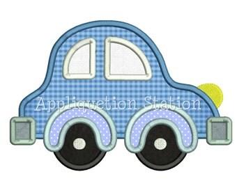 Car Applique Machine Embroidery Design blue boy vehicle bug INSTANT DOWNLOAD