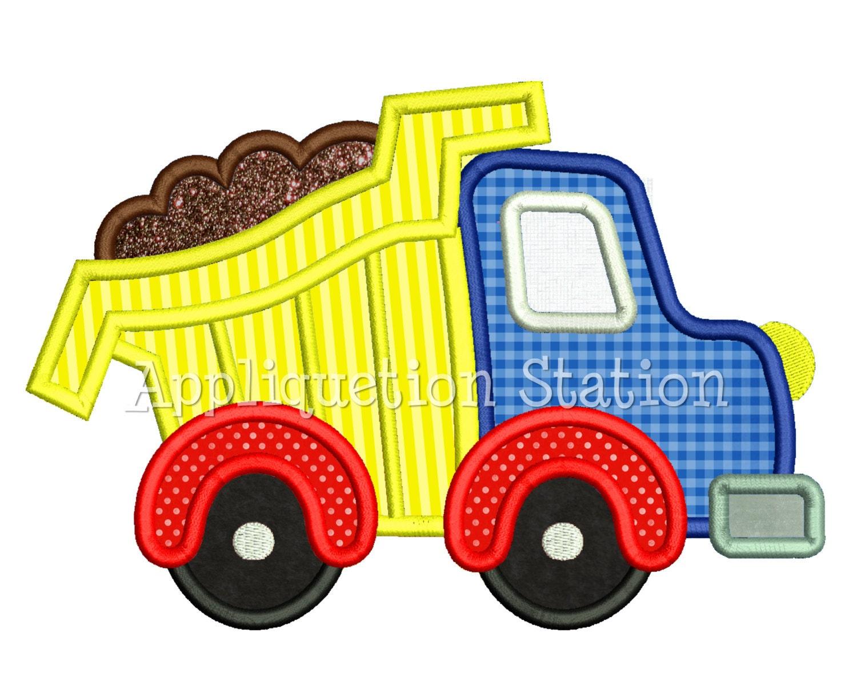 Truck set applique machine embroidery design boy tow