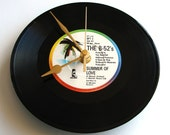 """B52s """"Summer Of Love"""" Vinyl Record CLOCK a Recycled 7"""" single groovy 80s fun gift flower power hippy for girls women"""