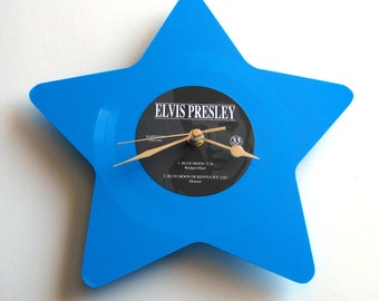 "ELVIS Vinyl Record CLOCK made from recycled 7"" Blue Star Shaped Picture Disc fun gift men women guys girls"