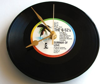 """B52s """"Rock Lobster"""" or """"Summer Of Love"""" Vinyl Record CLOCK a Recycled 7"""" single groovy 80s fun gift flower power hippy for girls women"""