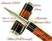 Custom Wooden Pen Rollerball Amboyna Burl with Gabon Ebony Segments Made In USA Stainless Steel Hardware 676RBSSE