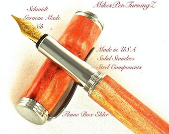 Custom Wooden Pen  Hand Turned Custom Fountain Pen Beautiful Flame Box Elder and Made In USA Stainless Steel Components 635FPSSB