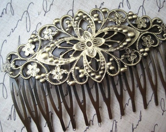 Filigree Hair Comb 1 to 3 pcs Antique Bronze Filigree Hair Accessory / Wedding Hair Comb Blank / 81mm x 57mm