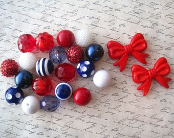 Red, White and Blue Bubblegum Bead Necklace Kit, Gumball Bead Kit, Necklace Kit, DIY Necklaces, Fun Kids Project
