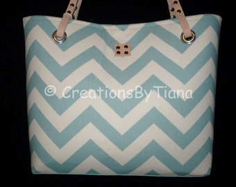 Chevron Purses - Light Blue Chevron - Purse - bag - Handmade - Handbag - Leather handles