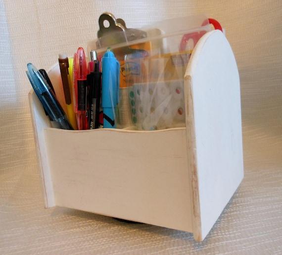 White shabby chic lazy susan desk by crystawilliamdesigns - Lazy susan desk organizer ...
