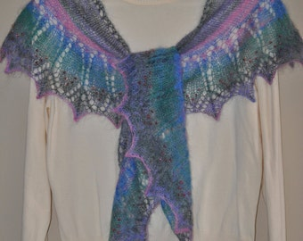 Lace Indian Feather Shawl, Hand Knit Delicate Lace Shawl with beads