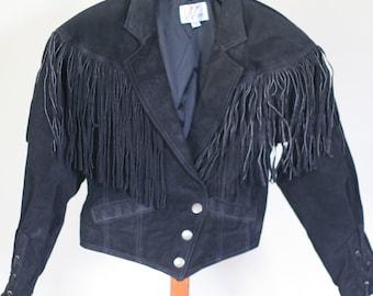 vintage women's black suede fringe jacket 1980's size M wilsons