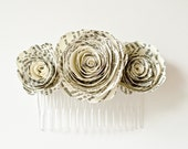 Book Page Flower Hair Comb Accessory for Brides and Bridesmaids - Paper Wedding - Harry Potter, Pride & Prejudice, Lord of the Rings, etc.