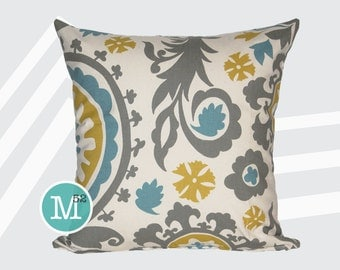 Summerland Yellow, Blue, Grey Suzani Pillow Cover - Many Sizes Lumbar, 12, 14, 16 - Zipper Closure - sc246l