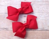 You pick color - Adorable pigtail bows, red bows, toddler bows, pigtail bows, baby bows, small bows, girls hair bows, girls bows