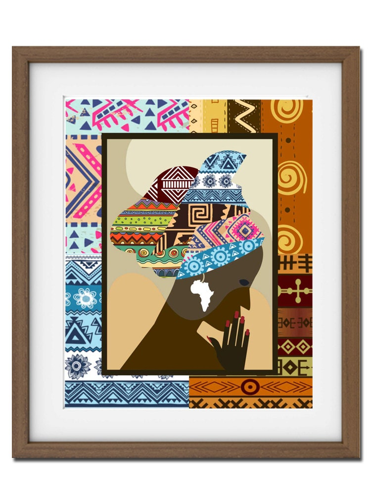 African woman african print african wall decor african for African wall art