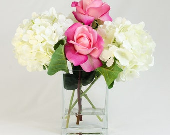 White Silk Hydrangea Arrangement Silk with Real Touch Fuschia Pink Roses Artificial Faux in Tall Square Vase for Home Decor
