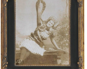 Victorian Sideshow Circus Freak Art Print 8 x 10 - Snake Charmer