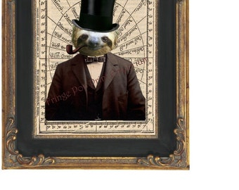 Victorian Sloth Art Print 8 x 10 Steampunk - The Gentleman Mr. Sloth in Top Hat With Pipe - Steampunk - Altered Art